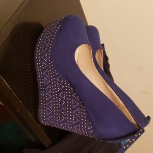 Royal blue platform wedges